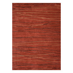 Jaipur Rugs - Modern Geometric Pattern Red /Orange Wool/Silk Tufted Rug - BQ10, 5x8 - The Baroque collection has a simple modern aesthetic.Hand tufted in 100% wool each rug is beautifully colored to reflect todays home trends.