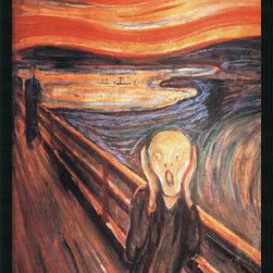 """Amanti Art - """"The Scream, 1893"""" Framed with Gel Coated Finish by Edvard Munch - You're probably familiar with """"The Scream"""" by Edvard Munch, but perhaps not the original with its rich shades of orange, gold, brown and blue. Hang this dramatic print in your home office and remember — we all feel that way sometimes."""