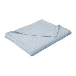 All-Season 100% Cotton Basket Weave Blanket - King - Light Blue - Wrap yourself in pure comfort with this all season 100% cotton blanket. This blanket is ideal for year-round use and comes in a variety of colors. The blanket features a basic basket weave pattern. Dimensions: 90x108.