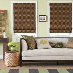 "Flat Roman Shades - as shown: flat roman shades | silk sphere | autumn | 30"" x 54"" 