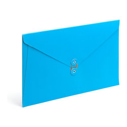 Poppin - Soft Cover Folio, Pool Blue - Forget vanilla manila. In your choice of brilliant colors, each of these soft cover folios opens to reveal bright white inside and features a colorful coordinating string closure. Whether you're transporting multimillion-dollar contracts or clipped coupons, carry your papers in high style.
