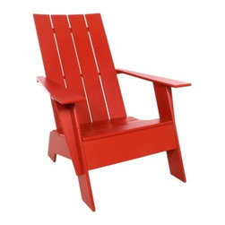 "Loll Designs - Adirondack 4 Slat Tall Chair by Loll Designs - The Loll Designs Adirondack 4 Slat Tall Chair has all the classic style of the original Adirondack, but with slightly taller dimensions that make it easier to sit down and stand back up. It is made out of 100% HDPE that comes mostly from recycled milk jugs, with hidden stainless steel fasteners and bottle opener under the right arm. Loll Designs creates ""outdoor furniture for the modern lollygagger."" Founded in 2003, Loll specializes in the use of recycled materials (primarily plastic milk jugs) to create their long-lasting, low-maintenance and, of course, super-stylish outdoor chairs, tables, benches and other outdoor furnishings. All Loll products are designed and made in Duluth, Minnesota."