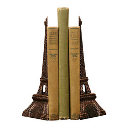 Eiffel Tower Bookends - Cast Iron - Bronze - Bring Paris home with the Eiffel Tower Bookends. Cast in iron with a stunning bronze finish, give your home library or office a Parisian touch with bookends that have an impressive attention to detail. These bookends also make wonderfully thoughtful gifts for the book lover or the lover of Paris in your life.