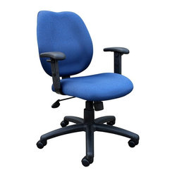 """BOSS Chair - Task Chair w Adjustable Arms in Blue - Head for the office with a newfound enthusiasm! Sculptured-seat task chair in blue cradles you in comfort while you're busy working. Cushiony armrests give you needed support and are height adjustable. Its five-pronged leg base with casters provide smooth and stable mobility. Lumbar support. Elegant styling upholstered with commercial grade fabric. Sculptured seat cushion made from molded foam that contour to the shape of your body. Ratchet back height adjustment mechanism which allows perfect positioning of the back cushion and lumbar support. Adjustable height armrests. Large 27"""" nylon base for greater stability. Pneumatic gas lift provides instant height adjustment of the seat. Adjustable tilt tension that accommodates all different size users. Hooded double wheel casters. Upright locking position. Cushion color: Blue. Base/wood: Black. Seat size: 20 in. W x 19 in. D. Seat height: 18.5 in. -22 in. H. Arm height: 25.5 in. -32 in. H. Overall dimension: 26 in. W x 27 in. D x 36.5-42 in. H. Weight capacity: 250 lbs"""