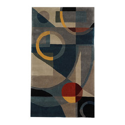 Safavieh - Handmade Rodeo Drive Deco Blue/ Multi N.Z. Wool Rug (2'6 x 4'6) - This contemporary styles rug features a hand tufted modern designArea rug displays stunning gem tones of blue,navy,gold,red,and green across the beautiful pattern of this rugRug is constructed from a natural wool pile