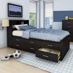 Sonax Willow Twin Captains Storage Bed with 6 Drawers - Ravenwood Black - Working double time, the Sonax Willow Twin Captains Storage Bed with 6 Drawers - Ravenwood Black offers ample storage in its six large, Euro-glide drawers. It is made eco-friendly from engineered wood and assembles in no time flat. This platform bed doesn't require a box spring and has an alluring ravenwood finish you will adore.About SonaxFor more than 30 years Sonax has led the industry with their eye-catching line of contemporary wares. With inspiration drawn from their home on Canada's West Coast, Sonax embraces natural wood tones complemented by a warm and inviting color palette. Their love for the natural is extended by a choice to embrace composite-wood construction that creates not only durable but more environmentally friendly products. A resident team of designers has made it their goal to remain at the forefront of design, bringing high-quality and inviting style to the market year after year. Standing firmly on roots of innovation and integrity, Sonax is proud to bring a piece of their vision into your home.