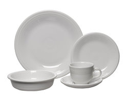 Homer Laughlin China Company - Fiesta 5pc Place Setting, White - A brilliant idea and an instant hit, the justly famous Fiesta dinnerware line design is still intact. Now you can dish out dinner in a creative new palette of rich colors.