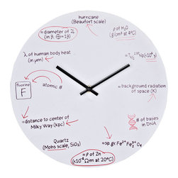 Science Wall Clock - Test your knowledge when telling time. With scientific equations at each number space, this clock makes sure you do not forget all the lessons your science teachers taught you. Each hour represents its own scientific equation: 1 o'clock Physics, 2 o'clock nuclear physics, 3 o'clock astronomy and thermodynamics, 4 o'clock genetics, 5 o'clock geology and chemistry, 6 o'clock physics, 7 o'clock geology, 8 o'clock astronomy, 9 o'clock chemistry, 10 o'clock human anatomy and physics, 11 o'clock astronomy and 12 o'clock meteorology. White powder coated metal background is made to look like a whiteboard with equations written in black and red ink. The perfect gift for your favorite braniac.