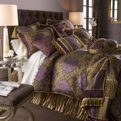 """Dian Austin Couture Home - Dian Austin Couture Home Queen Duvet Cover, 90"""" x 95"""" - In a regal palette of purple, patina, and bronze, """"Palatial"""" bed linens from Italy feature opulent fabrics, fancy trims, and just the right touch of cheetah spots. By Dian Austin Couture Home®. Silk dust skirts are imported. Other linens made in th..."""