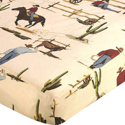 Wild West Cowboy & Horse Print Crib & Toddler Sheet by Sweet Jojo Designs