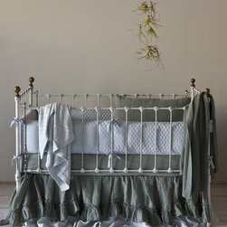 Bella Notte Linens - Linen Quilted 3-Piece Crib Bedding Set - Linen Quilted 3-Piece Crib Bedding Set