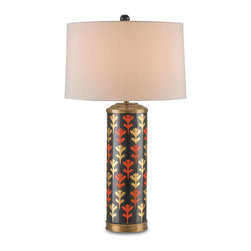 Kathy Kuo Home - Roseanna Burnt Orange Gold Global Bazaar Table Lamp - Bring the vivid gold's and warm oranges of a Tuscan sunset into your home. This stately porcelain lamp has hand-painted, luminous leaves on a pedestal of polished ebony. Antique brass details and a cream-colored shantung shade add the finishing touches to this picturesque piece.