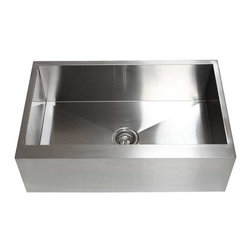 "Ariel - 33 Inch Stainless Steel Flat Front Farm Apron Single Bowl Kitchen Sink - The Ariel flat front apron sink is made from 16 gauge stainless steel and makes a lovely replacement for your current kitchen sink. Exterior Dimensions 33"" x 21"". Interior Dimensions 31"" x 17-1/2"" . Apron Depth 10""."