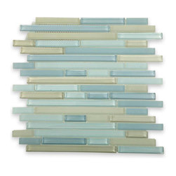 "Tao Sea Wave Glass Tiles, Sheet - Tao Sea Wave Glass Tile This beautiful blend of shades of gray and medium blue glass in frosted and polished finishes creates a sleek and attractive design to any room. The mesh backing not only simplifies installation, it also allows the tiles to be separated which adds to their design flexibility. These glass tiles will give a luminescent quality to any bathroom, kitchen or pool installation. Chip Size: 1/2"" x Random Color: Shades of gray and Medium Blue Material: Glass Finish: Polished and Frosted Sold by the Sheet - each sheet measures 12"" x 12"" (1 sq. ft.) Thickness: 8mm Please note each lot will vary from the next."