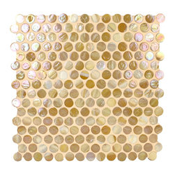 "Glass Tile Oasis - Light Caramel Circles Bronze/Copper Pool Glossy & Iridescent Glass - Sheet size:  11 1/2"" x 12""     Tiles per sheet:  224     Tile thickness:  1/4""      Grout Joints:  1/8""     Recycled Components:   20%     Sheet Mount:  Paper Face      Sold by the sheet    -  Brilliant glass combed through with coordinating colors and available in 14 mouth-watering colors  in both Iridescent and Frost finishes.Waterfall tiles are hand-poured and will have a certain amount of variation and variegation of color  tone  shade and size. Additionally  you will notice creases  wrinkles  shivers  waves  bubbles topped off with a natural surface to catch all forms of light for a brilliant effect. These characteristics of natural glass and only serve to enhance the final beauty of the installation."