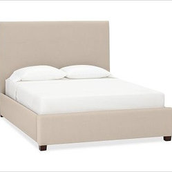 Raleigh Pewter Nailhead Square Bed, King, Performance Tweed Latte