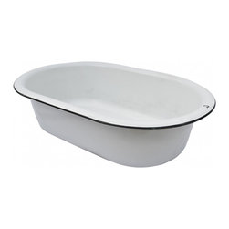 "Basin - Once a baby bathtub, not always a baby bathtub.  1930's vintage white enamelware basin with black rim.  A unique garden feature filled with succulents or lavender.  Fill it with ice and your favorite wines for your next party.  28""l x 18""w x 7 3/4""h"