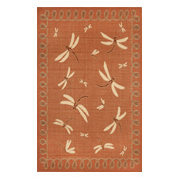 """Trans-Ocean - Dragonfly Terracotta 7'10"""" x 9'10"""" Indoor/Outdoor Flatweave Rug - Casual and Simple pattern combined with beautifully blended yarns in modern colors make this Machine Made rug rise above the rest. Wilton Woven in Turkey of 100% Polypropylene and UV stabilized for Indoor or Outdoor use. A loose weave of Polypropylene creates the look of natural fibers but is easy to care for."""