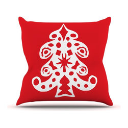 """Kess InHouse - Miranda Mol """"Noble Pine Red"""" Holiday Throw Pillow (Outdoor, 26"""" x 26"""") - Decorate your backyard, patio or even take it on a picnic with the Kess Inhouse outdoor throw pillow! Complete your backyard by adding unique artwork, patterns, illustrations and colors! Be the envy of your neighbors and friends with this long lasting outdoor artistic and innovative pillow. These pillows are printed on both sides for added pizzazz!"""
