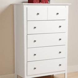 Prepac Berkshire 5-Drawer Chest in White - This modern Berkshire 5-Drawer Chest in White features tapered legs, giving it an upscale, contemporary look and 5 high drawers that run on smooth, all-metal roller glides with built-in safety stops.