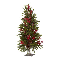Nearly Natural - Pine and Berry Artificial Christmas Tree - Ideal holiday decoration. Made from silk. Multicolor. Base: 6 in. L x 6 in. W x 0.2 in. H. Overall: 18 in. L x 18 in. W x 35 in. HRing in the Holidays with this beautiful Pine and Berry Christmas tree! Ok, here's a christmas tree unlike any other. This pine and berry christmas tree is the ideal holiday decoration for those who want something just a little bit different, without sacrificing an ounce of holiday spirit. With a stout trunk, full pine branches, faux pinecones, and lush imitation berries, this tree will fill your heart Christmas spirit!