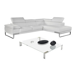 """J&M Furniture - """"Nicoletti"""" Premium Italian Leather Sectional Sofa with Right Chaise - Available in black, grey or white, the """"Nicoletti"""" Sectional Sofa will complement any living room, bringing an aesthetics of ornament, class and modernity. The """"Nicoletti"""" Sectional Sofa has 3 separate ratchet headrests, elegant chrome legs and thick premium grade Italian leather. Features:"""