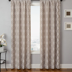 Blindsgalore Signature Drapery Panel: Azure Tile - Inspired by moroccan motifs, the Azure Tile drapery panel adds a decorative touch to any room.  The soft texture of linen combined with the distinct tone-on-tone pattern present an ultimate casual chic decorative element. The back of the drapery panel features the pattern colors inversed. With Blindsgalore Signature drapery panels, you don't have to pay a high-end price to get high-end looks and quality.