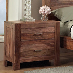 Domusindo - 2-drawer Solid Sheesham Nightstand - Crafted of sheesham and acacia wood, this nightstand adds an elegant and natural touch to any bedroom decor. Featuring ball bearing drawer guides, this nightstand features a naturally rosy grain.