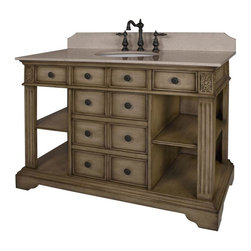 World Imports - 46in. W Single Vanity with Cream Marble Top, Distressed Parchment - Features 2 faux drawers and 5 functional drawers