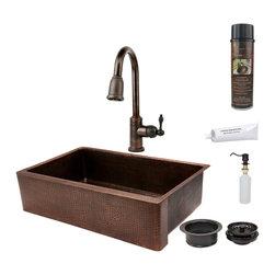 """Premier Copper Products - Premier Copper Products KSP2_KASDB35229 35"""" Copper Farmhouse Kitchen Sink Pkg - Premier Copper Products KSP2_KASDB35229 35"""" Copper Farmhouse Kitchen Sink Package"""