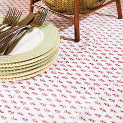 Attiser - Cotton Table Linens - Classic Crimson table cover, you'll love the feel of cotton at your fingertips and the red and white Indian motif. It's a great decorative accent for your dining room. Hand Block Printed from Attiser