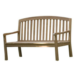 Westminster Teak Furniture - Westminster Curved Back 5ft Teak Bench - A beloved park bench in your backyard, imagine how lovely that would be! The curved back bench, made from plantation-grown, ecofriendly teak wood, will make your garden area even more inviting. Find or make some outdoor cushions, and you won't ever want to leave your haven.