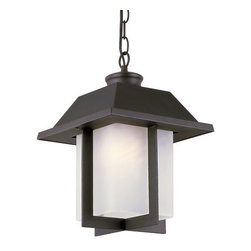 Trans Globe Lighting - The Standard Black Pagoda Cap 14-Inch Outdoor Pendant with Rectangle White Frost - - East meets West with this garden landscape and entry collection. Add all matching accent lighting for the whole home. Pair with ledge stone sided porch areas and homes for stunning ambience.  - 1 Light Hanging Outdoor  - Weather resistant cast aluminum  - Includes 5' chain for hanging adjustments  - Attaches to 5 round ceiling canopy from chain - ok for angled ceilings  - Asian inspired complete landscape lantern collection  - Material; Cast Aluminum  - Bulbs not included Trans Globe Lighting - 40116 BK
