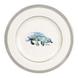 Caroline's Treasures - Manatee Momma and Baby Ceramic Dinner Plate Round Platinum Rim - Heavy Round Ceramic Plate with Platinum Rim 10 1/2  inches.  LEAD FREE and diswasher safe.  The plate has been refired over 1600 degrees and the artwork will not fade or crack. Made by Caroline's Treasure in Mobile, AL