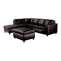 Acme - Acme 15200 Espresso Button Tufted Leather Sectional Sofa With Ottoman, Right Cha - If you are looking for the perfect hybrid between style, elegance, price, and quality than this sectional sofa is for you.  The button tufted design in espresso leather will bring a cotemporary appeal to your living area.