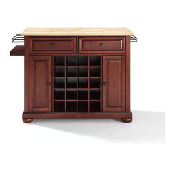 Crosley - ALEXANDRIA NATURAL WOOD TOP WINE ISLAND - Dimensions:  18 x 48 x 32.5 inches