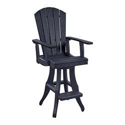 C.R. Plastic Products - C.R. Plastics Swivel Arm Pub Chair In Black - C.R. Plastics Swivel Arm Pub Chair In Black