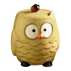 Tag - Owl Cookie Jar, Cream by Tag - Our ceramic Owl Cookie Jar from TAG LTD. This owl is cream with a red acorn sitting on his head to use as a handle