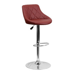 Flash Furniture - Flash Furniture Barstools Residential Barstools X-GG-GRUB-A82028-HC - This dual purpose stool easily adjusts from counter to bar height. The bucket seat design will make this a great accent chair around the bar area or kitchen. The easy to clean vinyl upholstery is an added bonus when stool is used regularly. The height adjustable swivel seat adjusts from counter to bar height with the handle located below the seat. The chrome footrest supports your feet while also providing a contemporary chic design. [CH-82028A-BURG-GG]