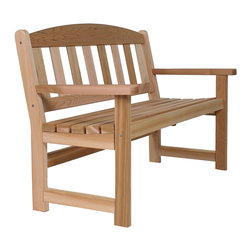 All Things Cedar - Cedar Garden Bench - Our Cedar bench offers a gently curved seat and eased back for many years of sitting enjoyment. Item is made to order.