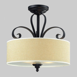 Z-Lite - Z-Lite 2001SF Charleston 3 Light Semi-Flush Mounts in Matte Black - A burlap shade and bold matte black hardware create a modernly styled fixture, with plenty of traditional charm. This semi flush mount is truly the best of both the modern and traditionally styles of lighting decor.