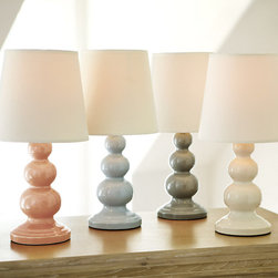 Ballard Designs - Lauren Accent Lamp - Fashion-forward look. Works with our favorite seasonal fabrics. The shapely stack of graduated spheres and glossy color make our Accent Lamp a fun statement piece on a desk, side table or in the bedroom. Crafted of ceramic and paired with an off-white fabric tapered drum shade. Lauren Accent Lamp features:. .