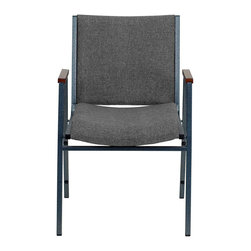 Flash Furniture - Flash Furniture Hercules Series Upholstered Stack Chair in Gray - Flash Furniture - Stacking Chairs - XU60154GYGG - This functional stack chair can be used in a multitude of environments from small to large. The versatility of the chair makes it appropriate to use in the Church Offices and Training Rooms or in the Classroom or Home. The thick padded seat and back will keep users comfortable throughout the duration of the day. Not only is this chair comfortable but it is very durable with its heavy duty frame with bumper guards that will prevent the finish on the frame from being scratched when stacked. So when in need of temporary or permanent seating this multi-purpose stack chair is sure to meet the needs for any venue. [XU-60154-GY-GG]