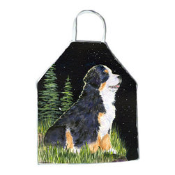 Caroline's Treasures - Starry Night Bernese Mountain Dog Apron SS8468APRON - Apron, Bib Style, 27 in H x 31 in W; 100 percent  Ultra Spun Poly, White, braided nylon tie straps, sewn cloth neckband. These bib style aprons are not just for cooking - they are also great for cleaning, gardening, art projects, and other activities, too!
