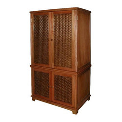Cottage Wicker TV Armoire