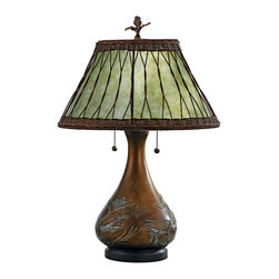 Quoizel - Quoizel QZ-MC120T Highland Traditional Table Lamp - Features a soft green mica shade with a wicker overlay, and bronzed base with an embossed pine branch motif.