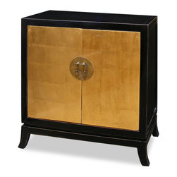 China Furniture and Arts - Gold Leaf Two Door Tang Cabinet - Ming (1368-1644) furniture style is characterized by its simple, clean, and pleasing lines. Our reproduced Elmwood Ming cabinet is a fine example of the spare, elegant design. Handcrafted by master artisans in China with hand made gold leaf finish. One removable shelf inside for your storage convenience. It is perfect used as a hallway cabinet in the foyer, vanity cabinet in the bathroom or media cabinet in the living room (cable outlets can be made upon request). Brass Ming hardware decorates the center of the cabinet. Assembled.