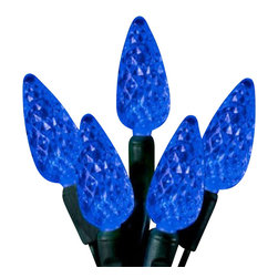 """Seasonal Source - 70 C6 Blue LED String Lights, 4"""" Spacing - Our best value professional C6 LED strand is available with a standard plug end, one piece construction, and energy star rated!"""