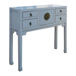 Golden Lotus - Narrow Chinese Moon Face White Elm Wood Console Altar Table - This is an elegant white narrow altar table, which has one shelf and four drawers.  It is made of solid elm wood at northern part of China.  It is narrow, and won't spend too much space in your house.