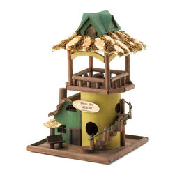 KOOLEKOO - Hawaii Bay Birdhouse - Your feathered friends will love visiting the charming Hawaii Bay Resort Birdhouse. Multiple entrances to the interior plus the rooftop lounge will create a relaxing paradise for them in your backyard.